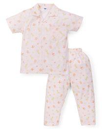 Teddy Half Sleeves Night Suit Allover Animal Print - Peach