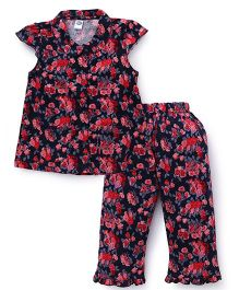 Teddy Cap Sleeves Night Suit Floral Print - Navy