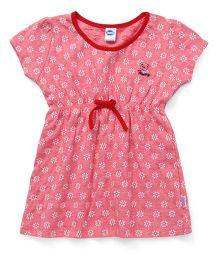 Teddy Short Sleeves Frock Floral Print - Pink