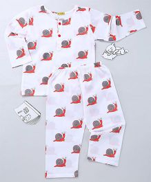 EkChidiya Snail Hand Printed Night Tee & Pajama Set - White Grey & Red