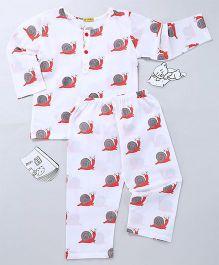 EkChidiya Snail Hand Printed Night Tee & Pajama Set - White Grey & Red