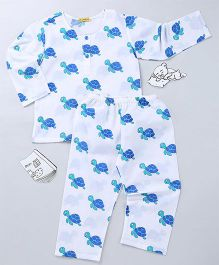 EkChidiya Turtle Hand Printed Nightsuit - White & Blue