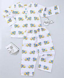 EkChidiya Cement Mixture Hand Printed Nightsuit - White Blue & Yellow