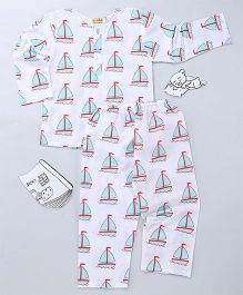 EkChidiya Sail Boat Hand Printed Nightsuit - White & Blue