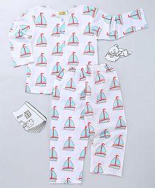 EkChidiya Sail Boat Hand Printed Nightsuit - White & Blue