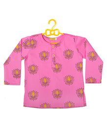 EkChidiya Lotus Hand Printed Ethnic Kurta - Pink