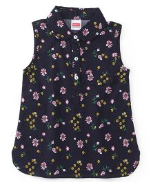 Babyhug Sleeveless Floral Print Top - Navy