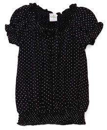 Babyhug Puffed Sleeves Top Polka Dots Print - Black