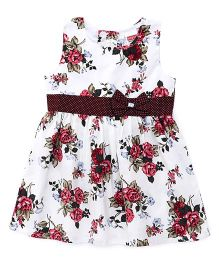 Babyhug Sleeveless Frock Floral Print - White Brown