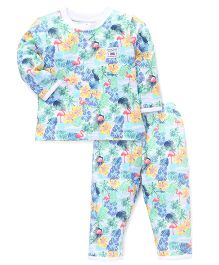 ToffyHouse Full Sleeves Night Suit Beach Print 12M