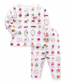 ToffyHouse Full Sleeves Night Suit Cupcake Print - White