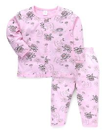 ToffyHouse Full Sleeves Night Suit Swan Print - Pink