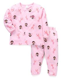 ToffyHouse Full Sleeves Night Suit Allover Print - Light Pink