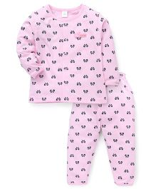 ToffyHouse Full Sleeves Night Suit Bow Print  - Pink