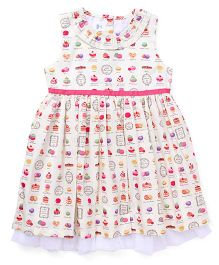 ToffyHouse Sleeveless Frock Cupcake Print - White Pink