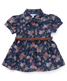ToffyHouse Puff Sleeves Denim Frock With Belt Floral Print - Blue