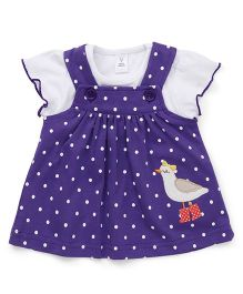 ToffyHouse Dotted Dungaree Style Frock With Top Bird Embroidery - White Dark Purple