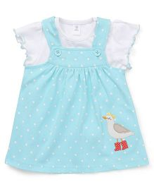 ToffyHouse Dotted Dungaree Style Frock With Top Bird Embroidery - White Blue