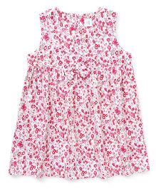 ToffyHouse Sleeveless Frock Floral Print - dark Pink & White