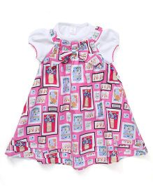 ToffyHouse Dungaree Style Frock With Inner Top Bow Applique - Pink White