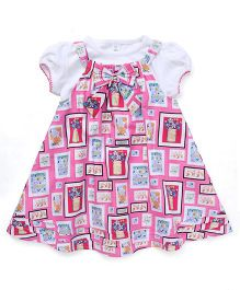 ToffyHouse Dungaree Style Frock with Top Bow Applique - Pink White
