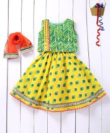 Pspeaches Printed Lehenga Choli - Yellow And Green