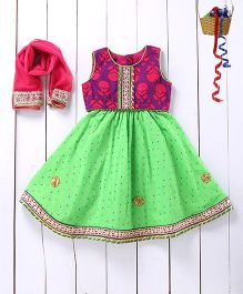 Pspeaches Dot Print Lehenga with Printed Choli - Green And Purple