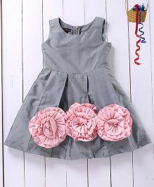 Pspeaches Floral Applique Taffeta Dress - Grey