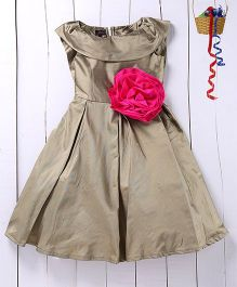 Pspeaches Big Floral Taffeta Dress - Metalic Green