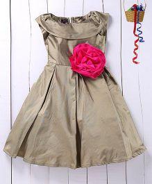 Pspeaches Big Floral Taffeta Dress - Metalic Green