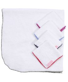 Mumma's Touch Organic Baby Wrap Towel with Green Border + 4 Assorted Baby Face Towels