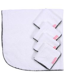 Mumma's Touch Organic Baby Wrap Towel + 4 Baby Face Towels - Grey Border