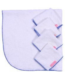 Mumma's Touch Organic Baby Wrap Towel + 4 Baby Face Towels - Blue Border