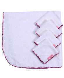 Mumma's Touch Organic Baby Wrap Towel + 4 Baby Face Towels - Purple Border
