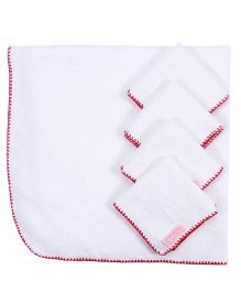 Mumma's Touch Organic Baby Wrap Towel + 4 Baby Face Towels - Red Border
