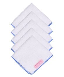 Mumma's Touch Organic Baby Face Towel Pack of 5 - Blue Border