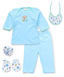 Babyhug Clothing Gift Set Of 5 Pieces - Aqua White