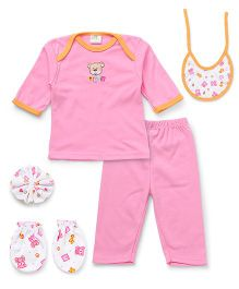 Babyhug Clothing Gift Set Of 5 Pieces - Pink White