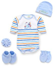 Babyhug Clothing Gift Set Of 5 Pieces - Blue Orange Green White