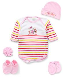Babyhug Clothing Gift Set Of 5 Pieces - Pink White Yellow