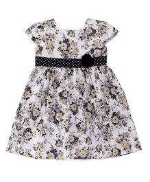 Babyhug Cap Sleeves Frock With Floral Design And Applique - White Blue