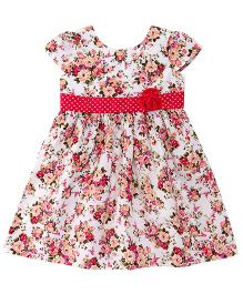 Babyhug Cap Sleeves Frock With Floral Design And Applique - White Pink
