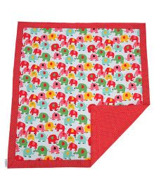 My Stork Story Reversible Blanket Dohar - Red & Multicolor