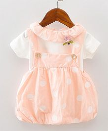Pre Order - Lil Mantra Polka Print Dungaree Style Frock & Tee - Peach