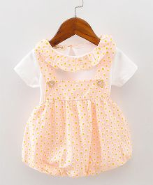 Pre Order - Lil Mantra Tiny Circles Print Dungaree Style Frock & Tee - Peach