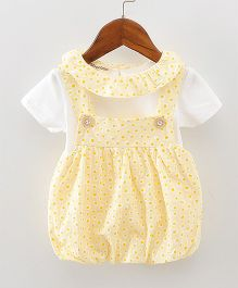Pre Order - Lil Mantra Tiny Circles Print Dungaree Style Frock & Tee - Yellow