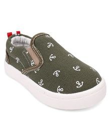 Cute Walk by Babyhug Slip-On Shoes Anchor Print - Dark Olive