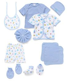 Montaly Clothing Box Gift Set Pack Of 10 Teddy & Giraffe Print - Blue White