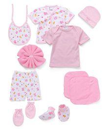Montaly Clothing Box Gift Set Pack Of 10 Teddy & Giraffe Print - Pink White