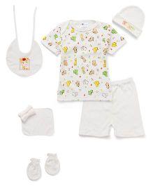 Montaly Clothing Basket Gift Set Pack Of 8 Giraffe Print - Yellow White